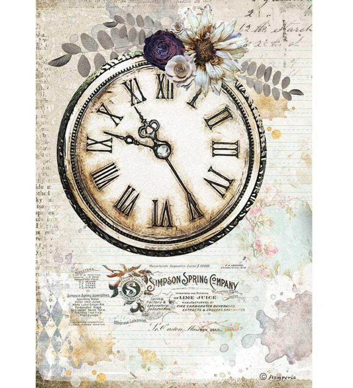 Clock A4 Rice Paper - Romantic Journal Collection - Stamperia