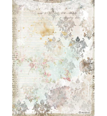Texture with Lace A4 Rice Paper - Romantic Journal Collection - Stamperia