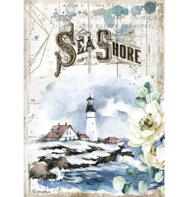 Sea Shore A4 Rice Paper - Romantic Sea Dream Collection - Stamperia