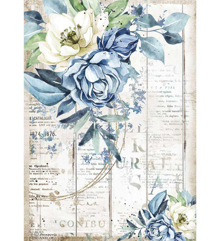 Blue Flower A4 Rice Paper - Romantic Sea Dream Collection - Stamperia