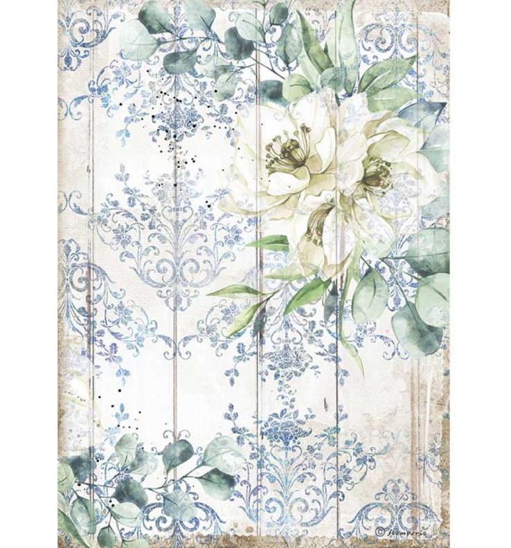 White Flower A4 Rice Paper - Romantic Sea Dream Collection - Stamperia