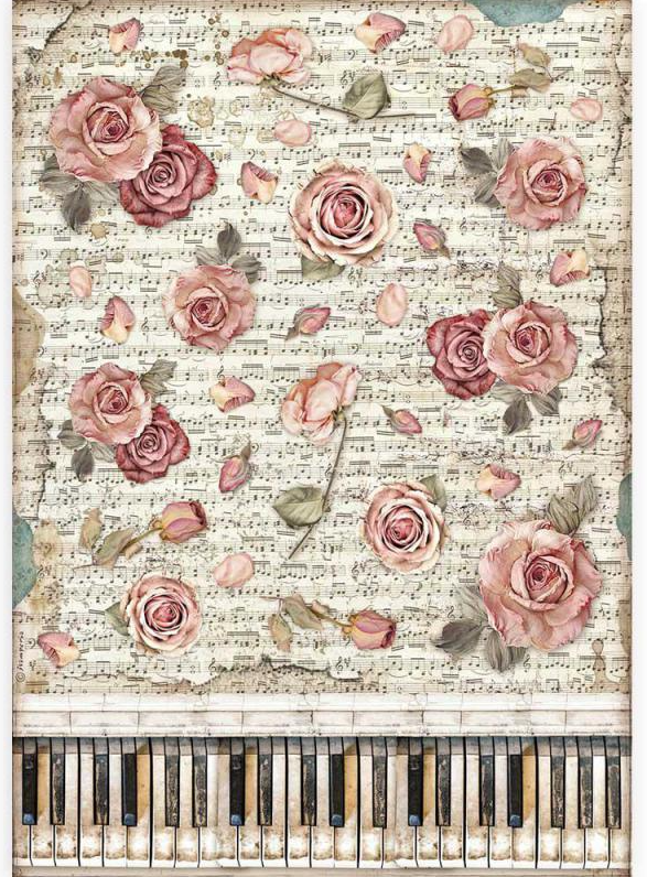Roses and Piano A3 Rice Paper - Passion Collection - Stamperia