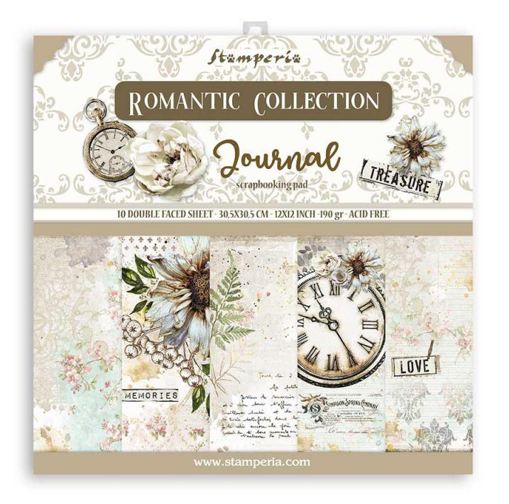 Romantic Journal 12x12 Paper Pad - Romantic Journal Collection - Stamperia