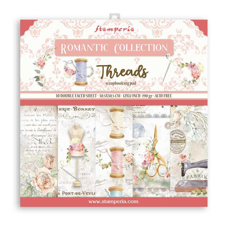 Romantic Threads 12x12 Paper Pad - Romantic Threads Collection - Stamperia