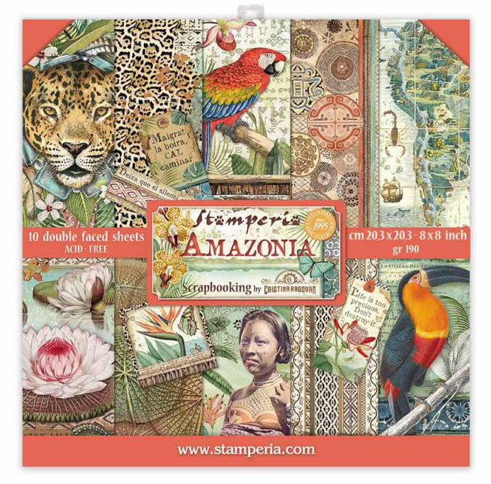 Amazonia 8x8 Paper Pad - Amazonia Collection - Stamperia