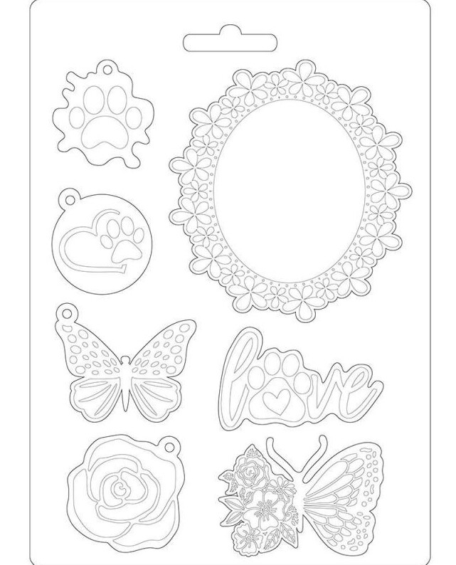 Frame and Butterfly A5 Soft Mould - Circle of Love Collection - Stamperia