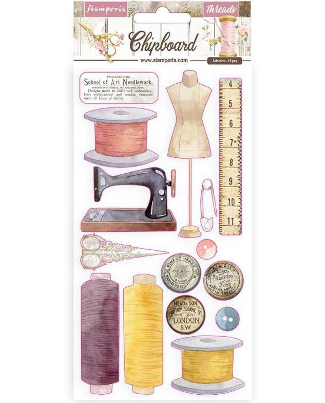 Romantic Threads Chipboard - Stamperia