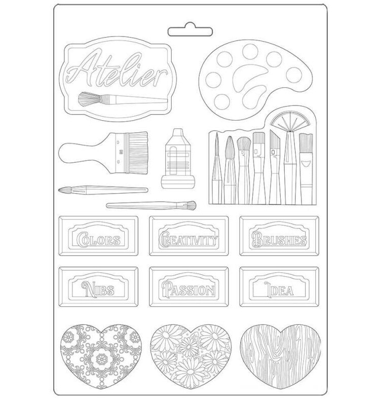 Tags A4 Soft Mould - Atelier Des Arts Collection - Stamperia
