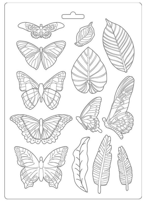 Leaves and Butterflies A4 Soft Mould - Amazonia Collection - Stamperia