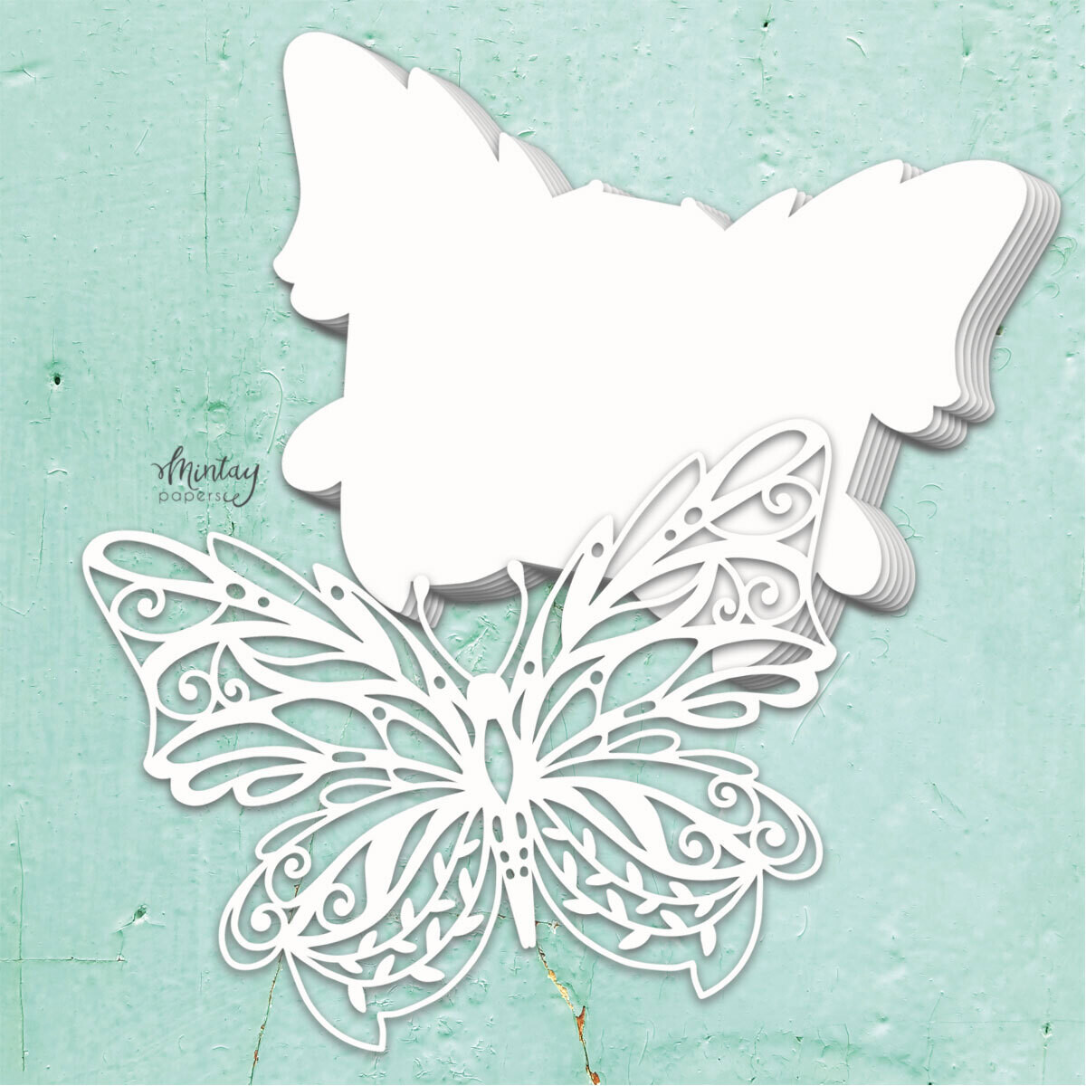 Butterfly Chipboard Album Base - Chippies - Mintay by Karola