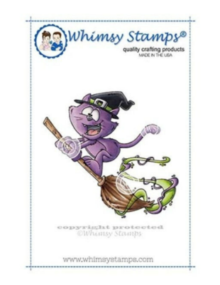 Flying Cat Witch - Whimsy Stamps
