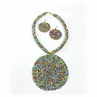 Maasai XL Pendant Necklace Set: Multi