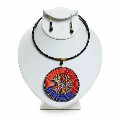 Tri-Color Maasai Pendant Necklace Set