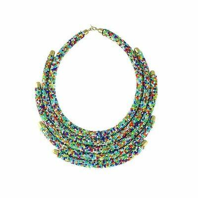 5-Row Multi Color Maasai Bead Choker