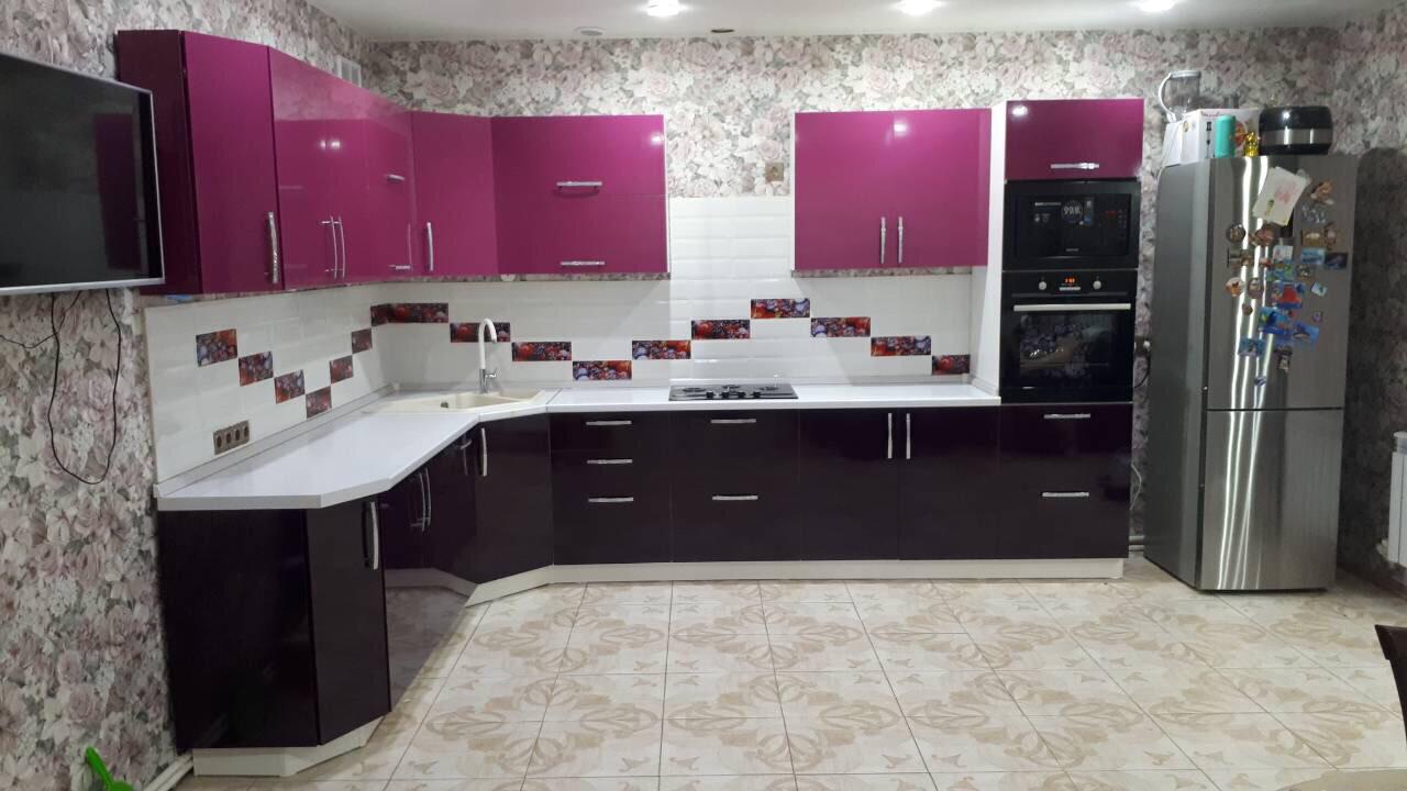 Кухня | Пленка | Глянец | Черная фуксия