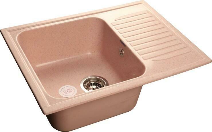 Кухонная мойка Granfest Standart GF-S645L, Светло-розовый, с крылом, разм. 645х500