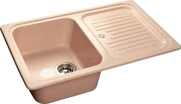 Кухонная мойка Granfest Standart GF-S780L, Светло-розовый, с крылом, разм. 780х500
