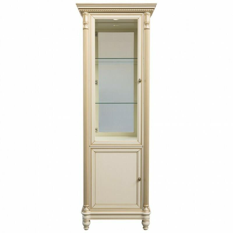 витрина 1створчатая со стеклянными боковинами с зеркалом и подсветкой (правая)