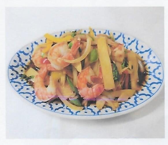 Crevettes sauté à la sauce piment thai / Shrimps with thai chill pàtes