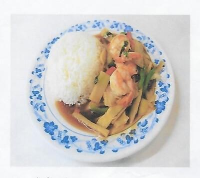 Riz avec crevette sauté à la sauce piment Thai / Rice with shrimps thai chill pates