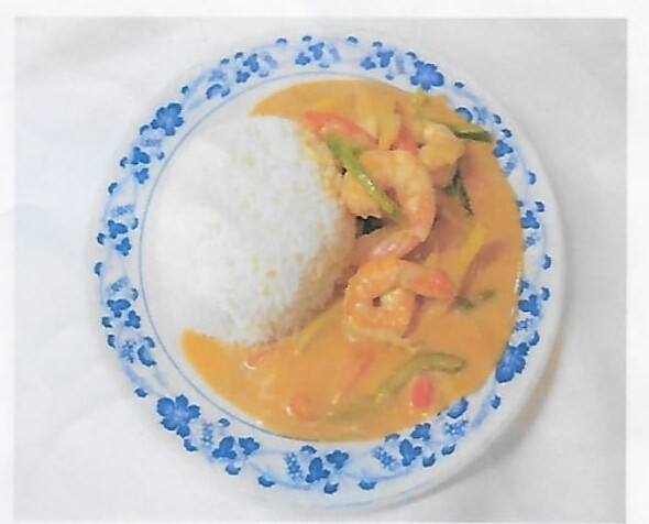 Riz avec crevettes au curry rouge / Rice with shrimps red curry