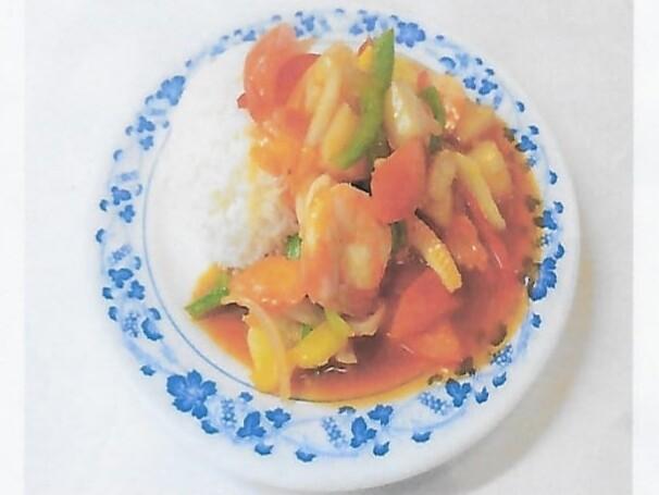 Riz avec crevettes à la sauce aigre-douce / Rice with shrimps sweet and sour