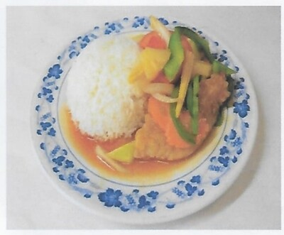 Riz avec poisson à la sauce aigre-douce / Rice with fried fish with sweet and sour