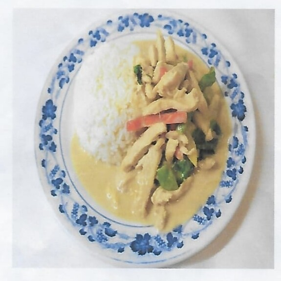 Riz avec poulet au curry vert / Rice with chicken green curry