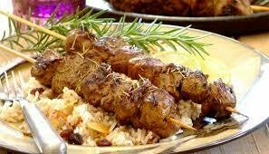 Brochette agneau au riz
