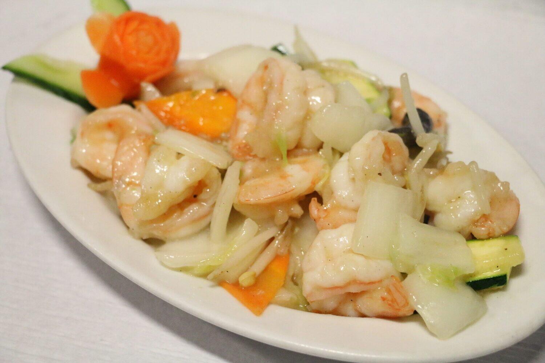 Crevettes Sautées aux Légumes Divers