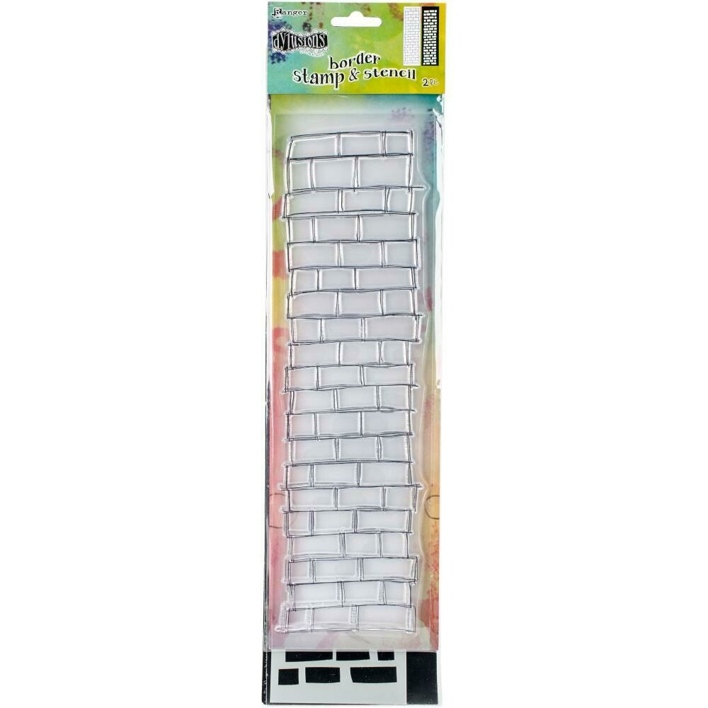 "Dyan Reaveley's Dylusions Clear Stamp & Stencil Set 12"" Brickwork"