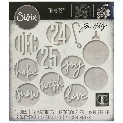Tim Holtz Sizzix Thinlits Dies Circle Words Christmas