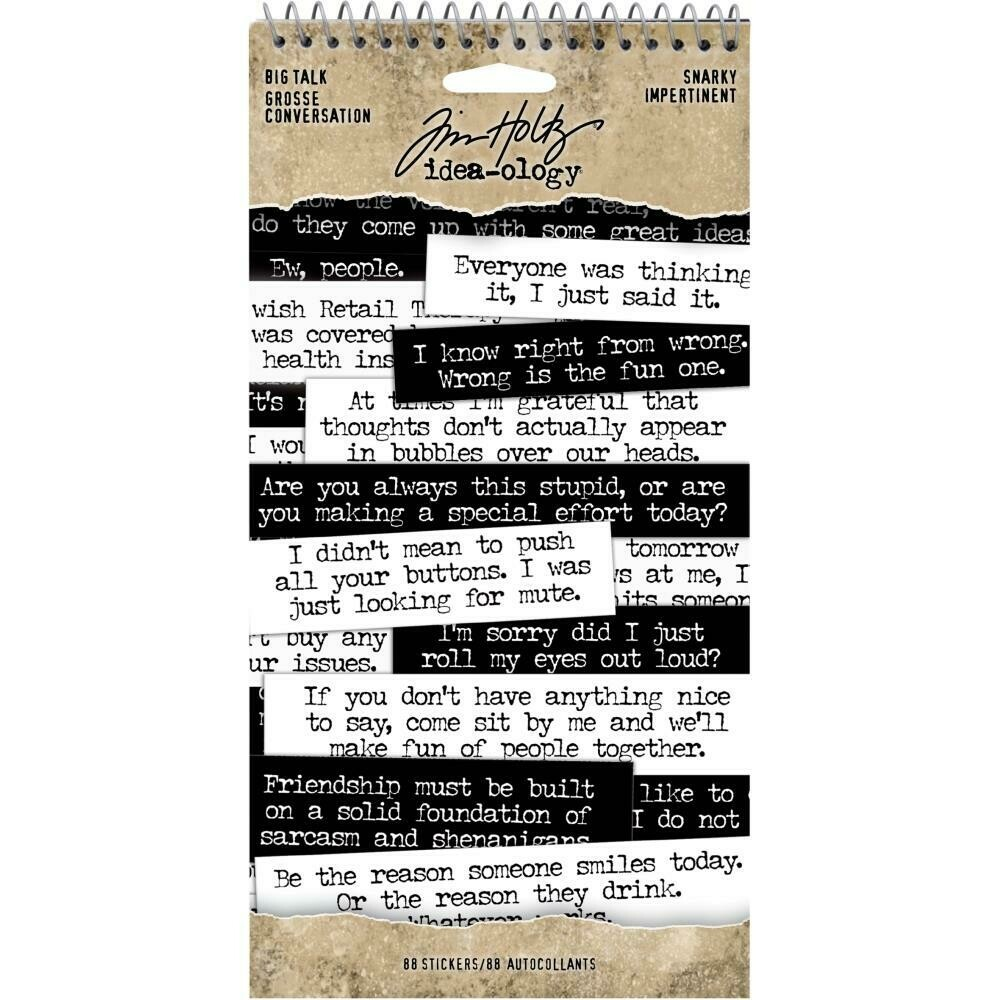 Tim Holtz Idea-Ology Big Talk Stickers Snarky