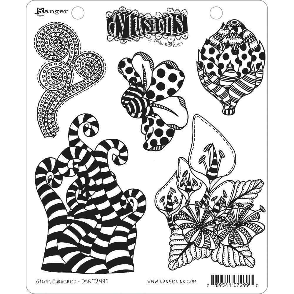 Dyan Reaveley's Dylusions Cling Stamp Stripy Curlicues