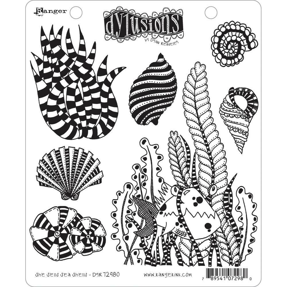 Dyan Reaveley's Dylusions Cling Stamp She Sells Sea Shells