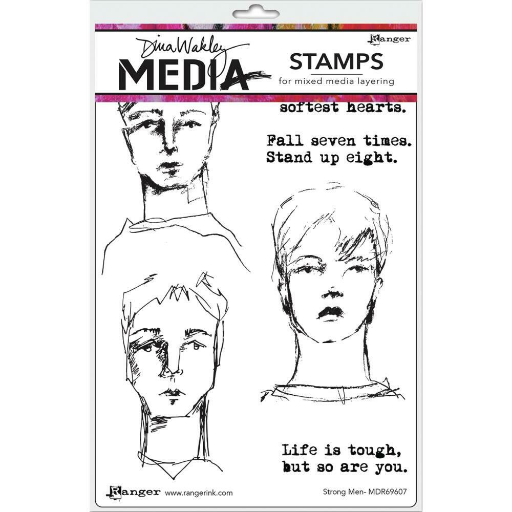 Dina Wakley Media Cling Stamps Strong Men