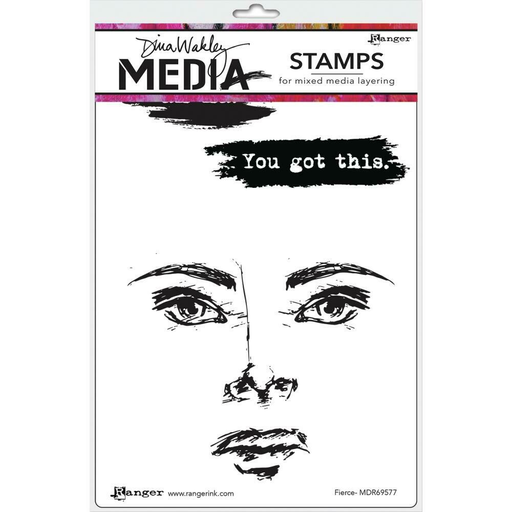 Dina Wakley Media Cling Stamps Fierce