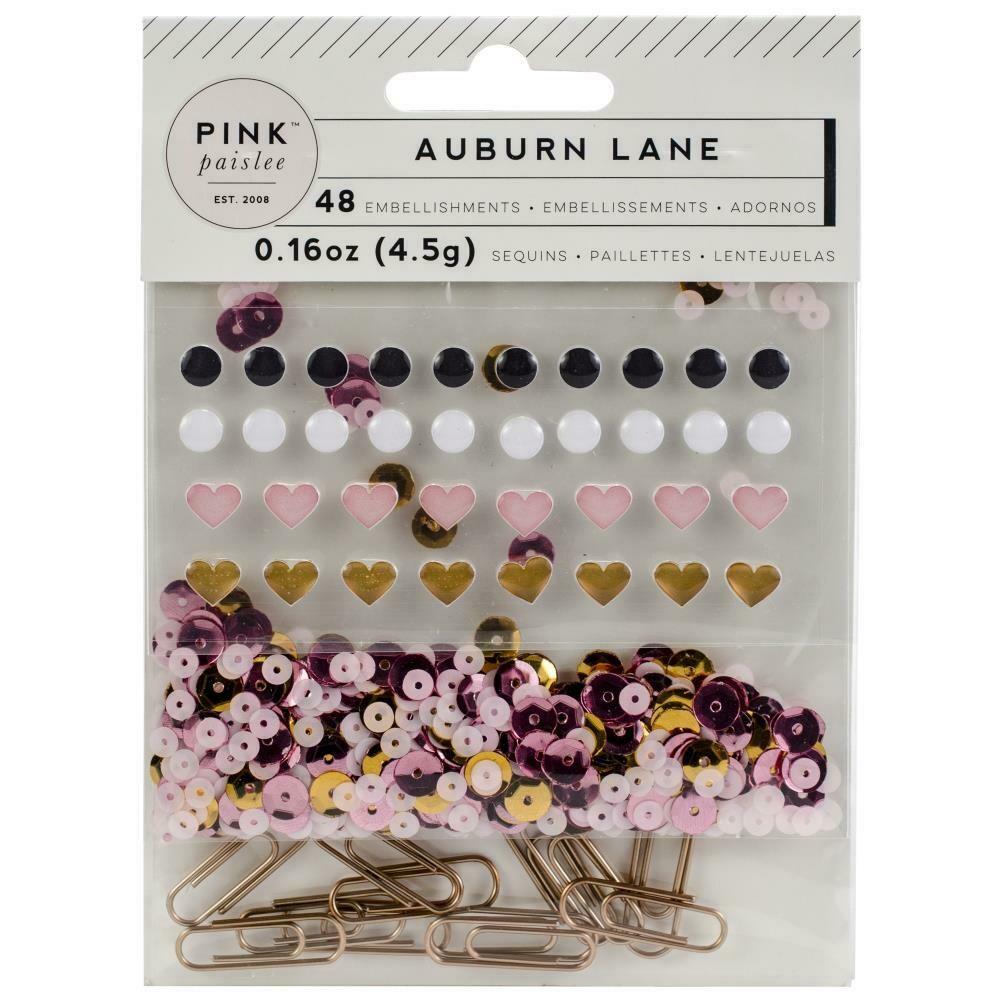 Auburn Lane Mixed Embellishments Enamel Shapes, Paper Clips & Sequins