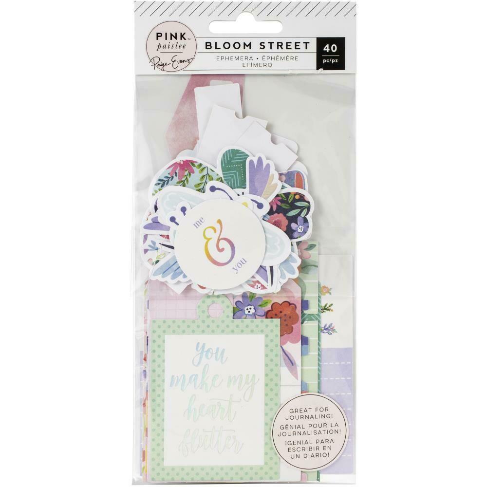Pink Paislee Paige Evans Bloom Street Ephemera Cardstock Die-Cuts 40/Pkg