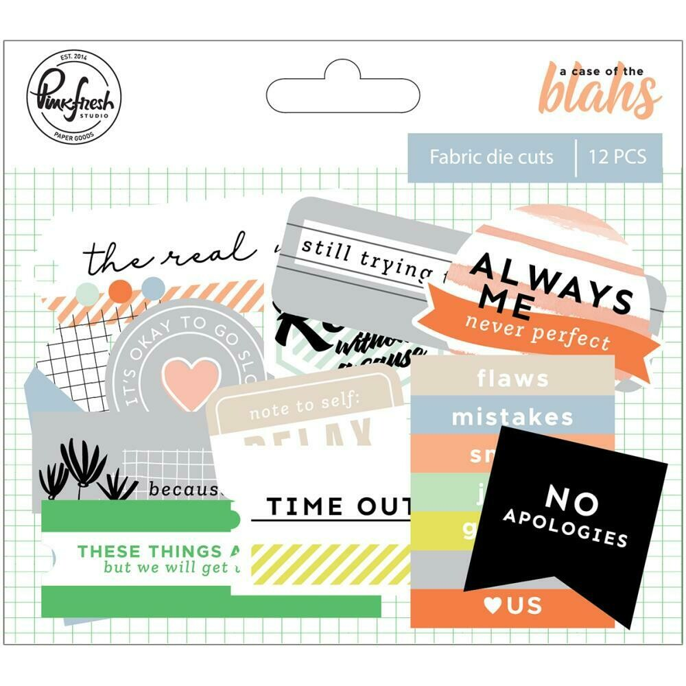 PinkFresh - A Case Of The Blahs Fabric Die-Cuts 12/Pkg