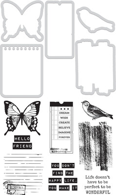 Kaisercraft DIY Cuts Clear Stamp and Die set - Happy Life