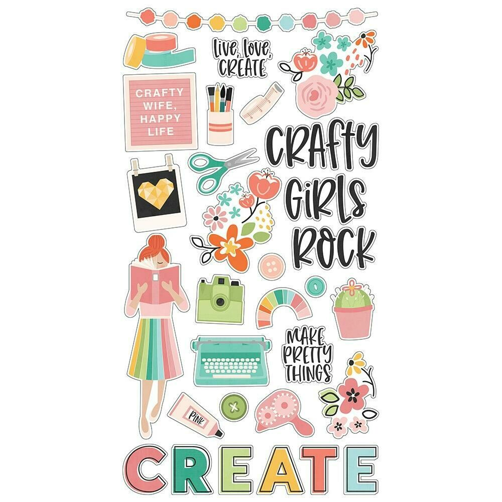 """Simple Stories Hey, Crafty Girl Chipboard Stickers 6""""X12"""""""
