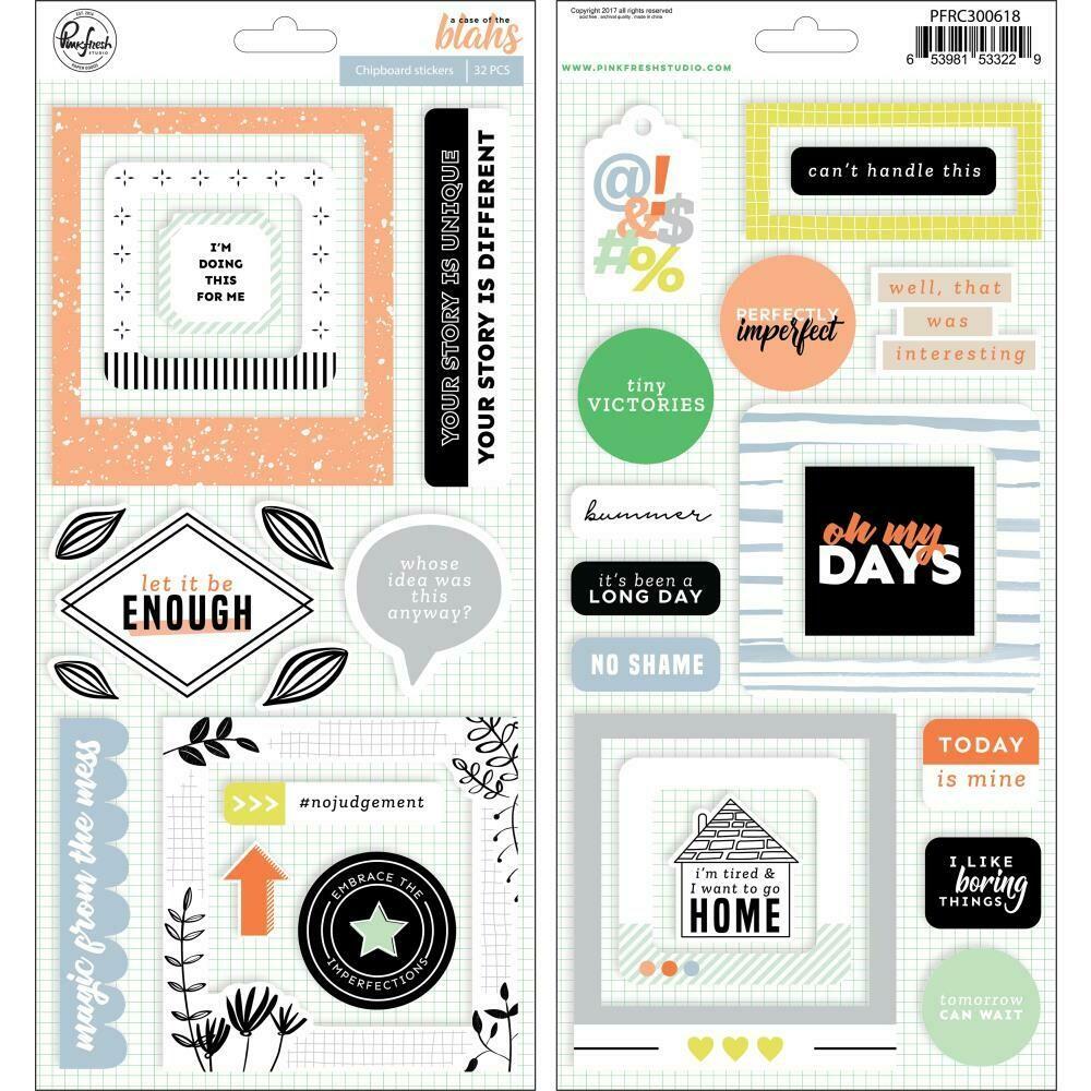 PinkFresh - A Case Of The Blahs Chipboard Stickers 32/Pkg