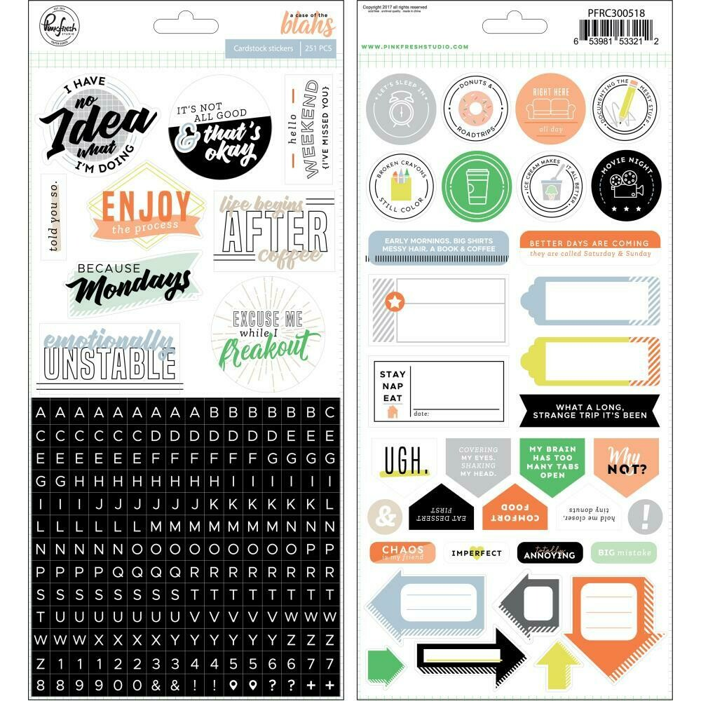 PinkFresh - A Case Of The Blahs Cardstock Stickers 251/Pkg
