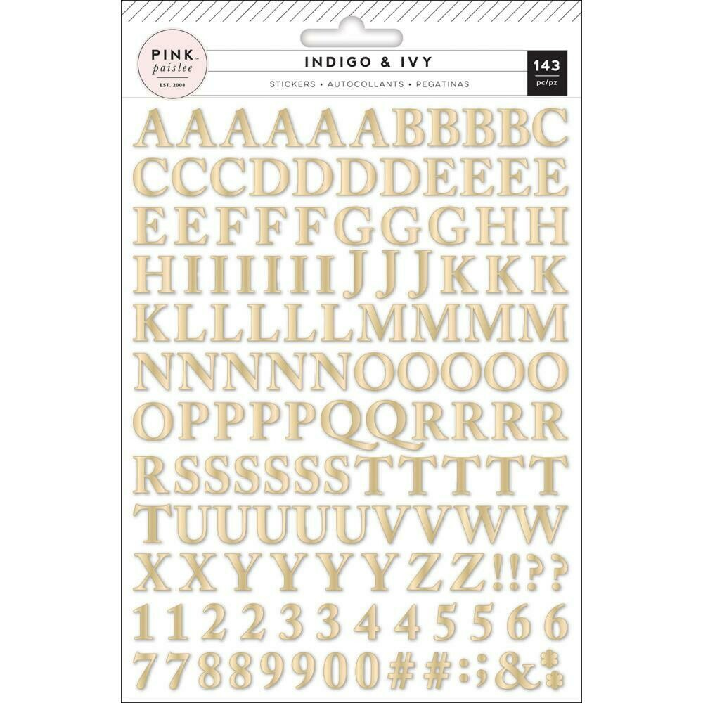 Pink Paislee Indigo and Ivory Puffy Stickers with Gold Foil 133/Pkg