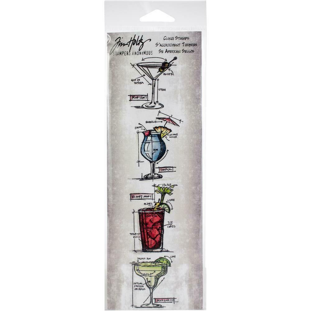 """Tim Holtz Mini Blueprints Strip Cling Stamps 3""""X10"""" Cocktails"""