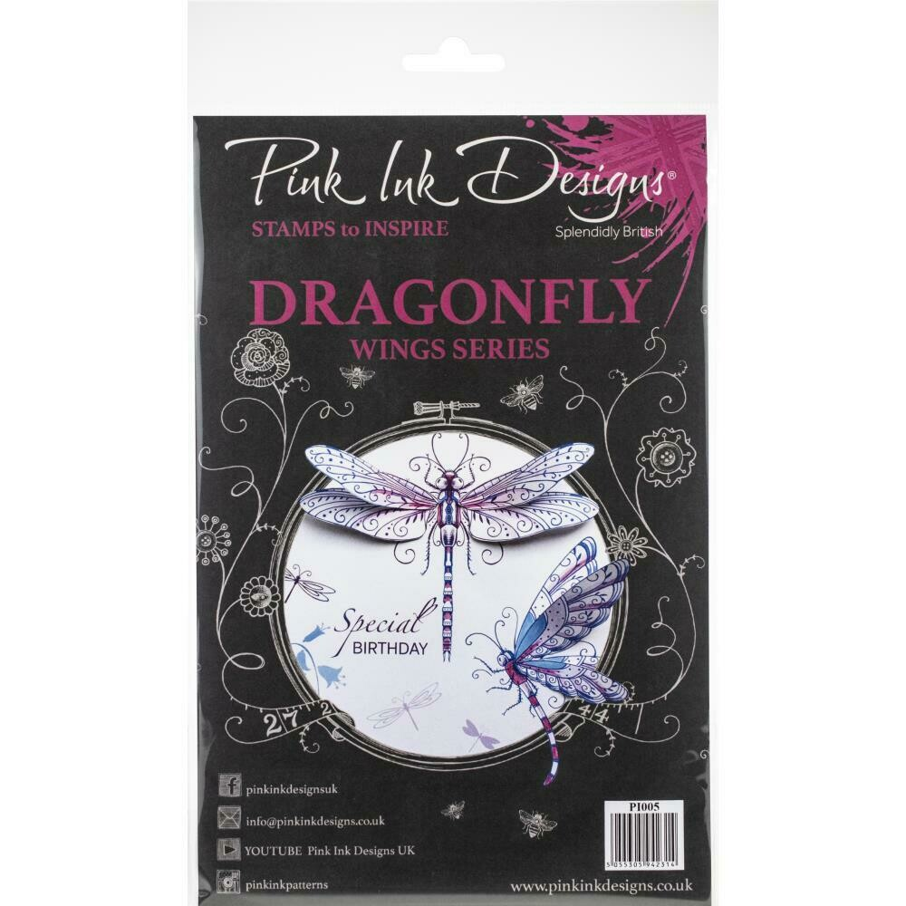 Creative Expressions Pink Ink Designs A5 Clear Stamp Set Dragonfly