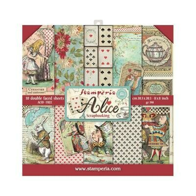 Stamperia Alice - 8x8 double sided paper 10/pkg