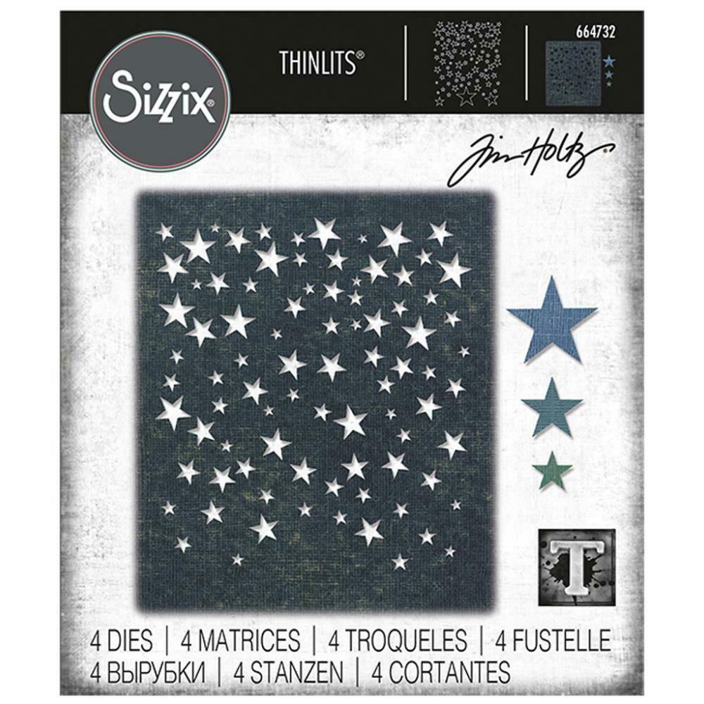 Tim Holtz Sizzix Thinlits Dies Falling Stars 4/Pkg