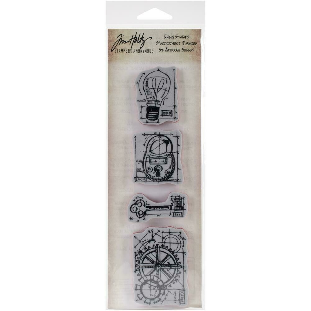 "Tim Holtz Mini Blueprints Strip Cling Stamps 3""X10"" Industrial"